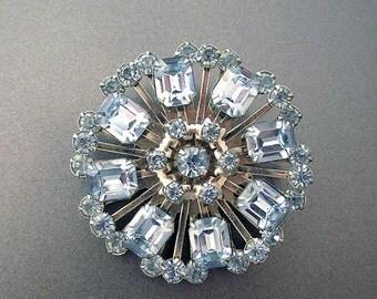 Vintage Blue Rhinestone Brooch Baguette Crystals