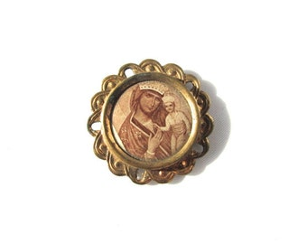 Celluloid Medal Mary Photo Pin Back Button Gilt Frame Vintage Madonna Santos Antique Badge French Religious Sepia Engraving