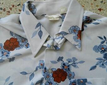 1970s disco short sleeve floral men's shirt size L/XL