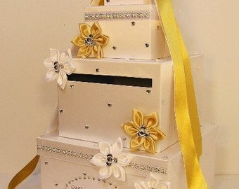 Wedding Card Box White and Gold Gift Card Box Money Box Holder--Customize your color