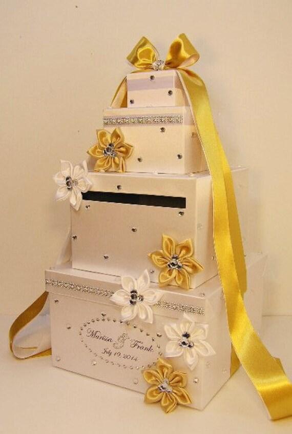 Wedding Gift Card Box Gold : Wedding Card Box White and Gold Gift Card Box Money Box Holder ...