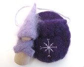 Winter Peg Doll, Felted Wool, Waldorf Wooden Toy