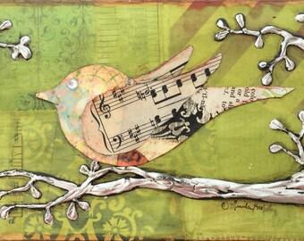Bird Art - Bird on a Branch, Mixed Media Collage