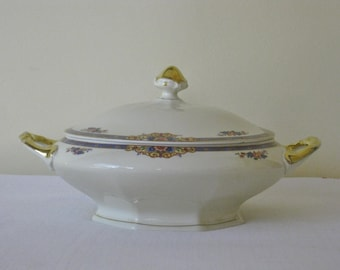 Antique German Covered Casserole Dish, Large Classic Vegetable Bowl with Lid, Blue Floral Band with Flower Bouquet, Heavy Gold Trim Handles