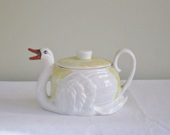 1930s Swan Creamer Pitcher with Lid, Vintage Decorative Figural Small Covered Pitcher, Antique Czechoslovakia Ceramic Porcelain