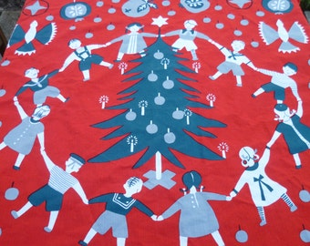Vintage   Christmas Table Cloth Made in Sweden  1950s  signed linens Brit B