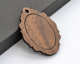 "1"" x 1.5"" Embroidery Hoop Victorian Frame Vertical Pendants 25mmx38mm Laser Cut from Walnut Wood EHPVFV-2538-W"