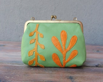 Ferns Leather Pouch Clutch Green and orange Leather Applique