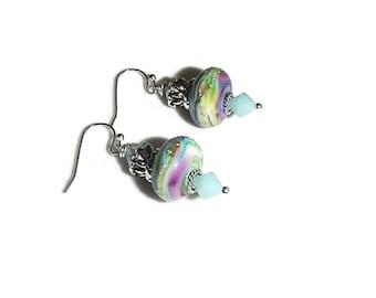 Artisan Lampwork Earrings Mint Purple OOAK Earrings OOAK Jewelry