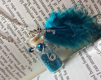 Fairy Glitter Bottle Necklace Blue w/ Blue Grouse Feather, Crystals & Wire - .925 Silver Chain