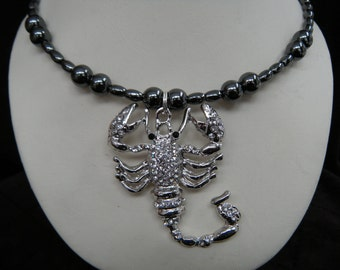 Rhinestone Scorpion Magnetic Hematite Memory Wire Choker Necklace