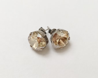 Crystal Golden Shadow Earrings, 12mm Cushion Cut Swarovski Crystals,  Set In Vintage Patina Antique Silver, Post Setting, Stud Earrings