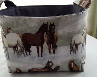 Fabric Organizer Basket Storage Container - Winter Horses - Bin