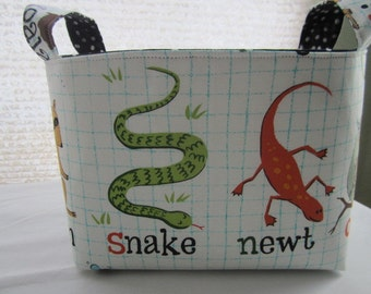 Fabric Organizer Basket Storage Bin Container -  Snake Newt Owl Penguin Raccoon Animals