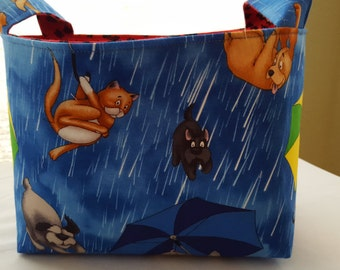Fabric Organizer Basket Storage Container Bin -  Raining Cats and Dogs