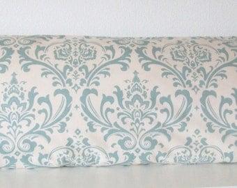 Pillow Cover - Blue - Natural - Damask - Decorative - Throw - Lumbar - or Body pillow case