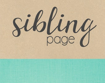 SIBLING PAGE // baby book, baby gift, add on page, baby keepsake