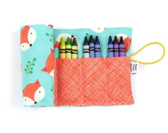 Crayon Roll - Happy Camper Fox - 24 crayons, stocking stuffer, kids art supplies, fox party, easter basket