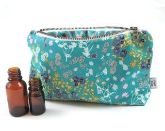 Essential Oil Case - Floret Stains - cosmetic bag zipper pouch essential oil bag