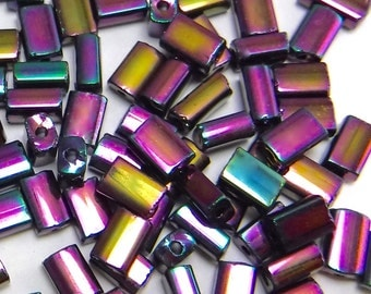 100 pcs Purple Iris Glass Tube Beads Metallic Purple Ab 5x3 mm Czech Tube B-177