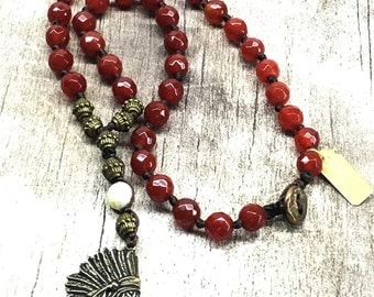 Knotted Carnelian with Indian Pendant