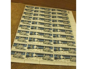 1971 Space Achievement Decade Stamps Issue - 8 Cent Postage Stamp - Sheet of 50 Vintage Unused US Postage Stamps