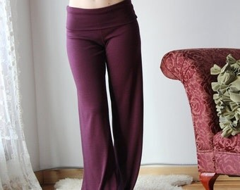 foldover wool lounge pants with wide leg in double knit wool knit - HEARTH - made to order