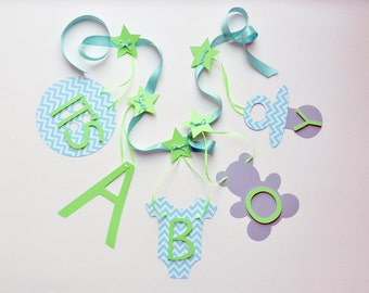Baby shower banner decorations turquoise chevron and lime green it's a boy banner by ParkersPrints on Etsy