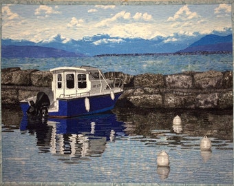 Springtime on the Lake Original Fiber Art by Lenore Crawford