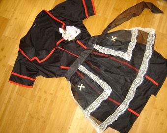 Diner waitress Flo Alice 50 60s black dress apron womens XL Halloween Costume
