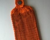hand crochet kitchen hand towel topper with button cotton machine washable orange copper holder houseware home decor