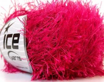 fushia pink bright eyelash yarn polyester bulky chunky 50gr craft rug ice yarns use for left over yarn projects 22770