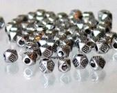 Antiqued Silver Tibetan Style Spacer Metal Beads 50 Pcs 3.5mm Polygon