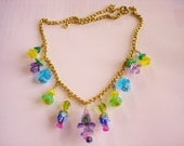 "Flowers Glass 20"" Necklace Gold Tone"