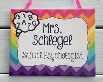 Rainbow chevron teacher door sign, classroom door sign, teachet name sign, door hanger, teacher gift, teacher appreciation