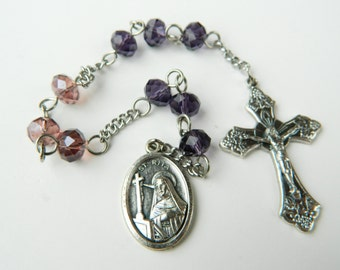 Purple Saint Rita Prayer Chaplet Rosary - Patroness of Spousal Abuse and Hopeless Cases