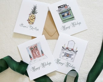 Variety Pack Watercolor Holiday Cards, Christmas Card Set, Holiday Card Set, Stationery, Modern Calligraphy, Home for the Holidays