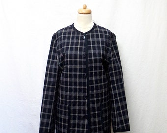 1990s Vintage Quilted Cotton Coat / Midnight Blue & White Plaid Jacket