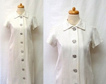 1960s Vintage Linen Dress / White Shirt Dress with Large Silvered Lucite Buttons