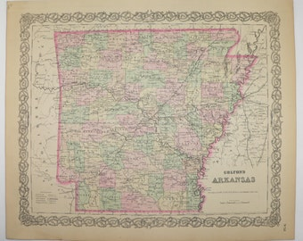 1881 Antique Map of Arkansas State Map, Original Colton Map, Arkansas Gift for Parents, Vintage Map, Man Cave Decor Gift for Him