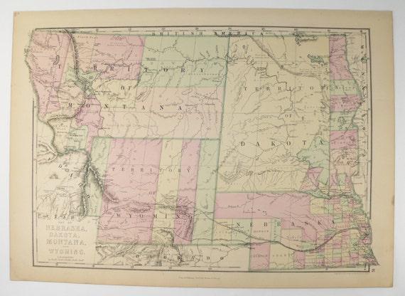 1873 Antique Wyoming Map Dakota Territory Nebraska: Map Of Wyoming And Montana At Slyspyder.com