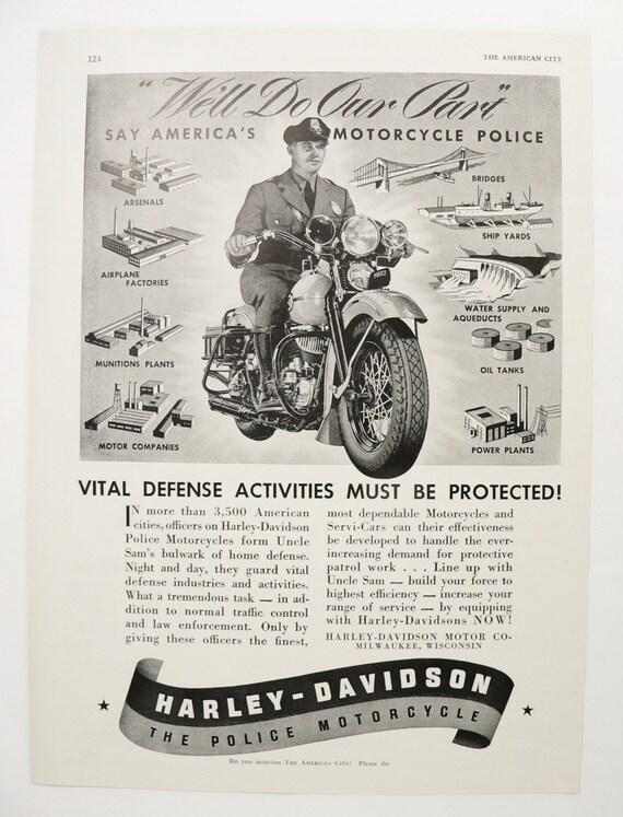 1940 Ad Harley Davidson Motorcycle Ad Vintage HD Motorcycle