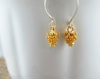 Bridesmaid Earrings, Autumn Wedding, Pinecone Earrings, Gold Pinecone, Silver Pinecone, Wedding Jewelry