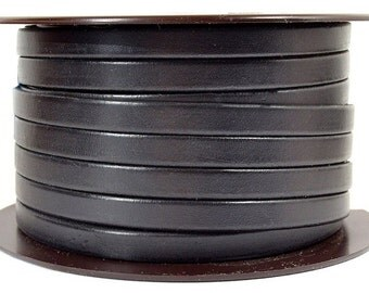8mm Flat European Leather - Black - Choose Your Length