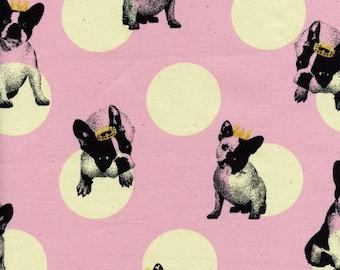 1 yard - French Bulldog in pink, Oxford fabric, Kokka, Japanese import