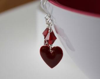 Heart Earrings, Crimson Red Earrings, Enamel Earrings, Dangle Earrings, Valentine Earrings, Red Earrings, Valentine Jewelry, Romantic Hearts