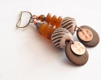 Raw Copper Earrings, Natural Wood Earrings, Horn Earrings, Boho Chic Earrings, Unique Earrings, Long Earrings, Brown Neutral Earrings