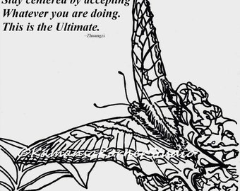 Butterfly in the Lilacs 2 Coloring Page set One with Positive quote