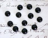 Round Black Onyx Cabochons - 3mm, 6mm, or 8mm Loose Semi-Precious Gemstones