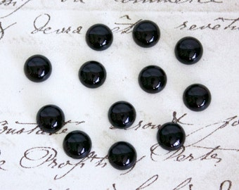 Round Black Onyx Cabochons - 3mm, 6mm, or 8mm Loose Semi-Precious Gemstones